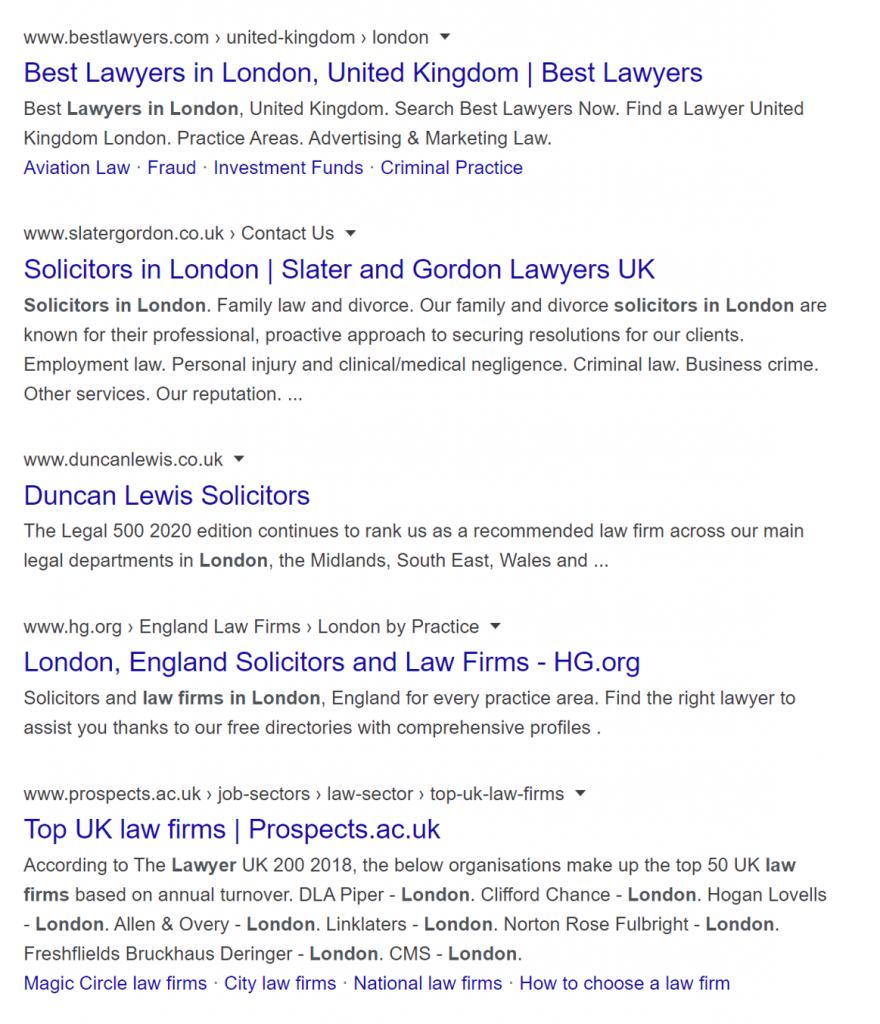 Lawyers In London - SEO